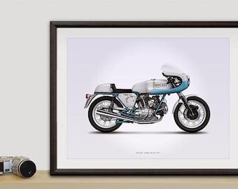 Ducati 750ss (supersport) motorcycle illustration poster, print 18 x 24 inches