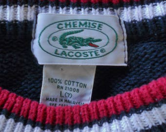 VINTAGE Chemise LACOSTE Navy Blue All Cotton Cable Knit SWEATER Green Alligator Logo Youth size 7