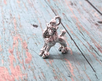Small poodle dog 3D charm silver plated pewter (1 piece) - silver poodle pendant, dog breed charm, standard poodle charm, dog charm, DD13