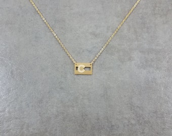 Colorado State Flag [GOLD] Plated Necklace in Gift Box United States Stripes CO Skies Earth Civil Flag