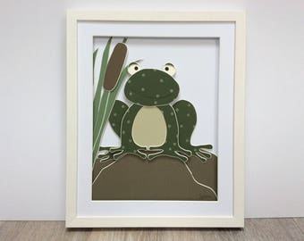 Froggy. Hand cut and assembled childrens art. Professionally framed. Unique childrens gift.