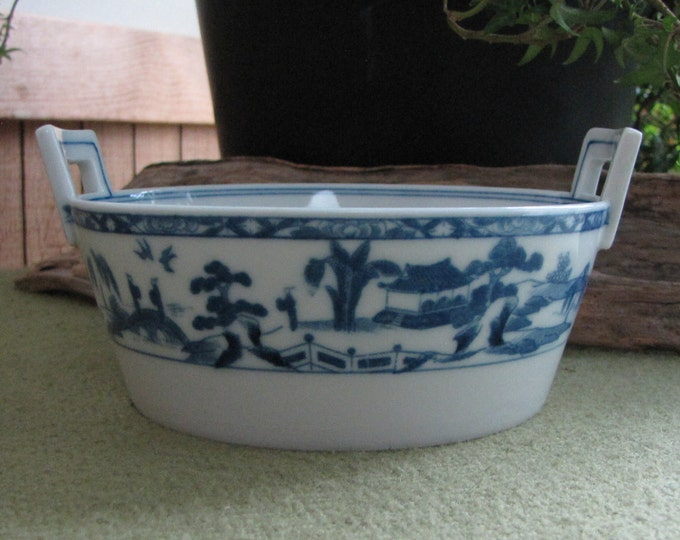 Blue Willow Ware Butter Tub Handled Dish Antique Noritake Dinnerware Circa 1900s
