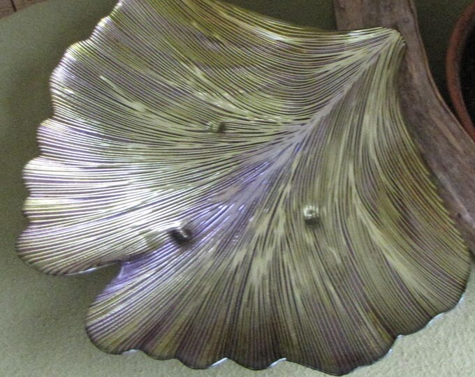 Ginkgo Leaf Platter Gold and Purple Decorative Coffee Table Bowl
