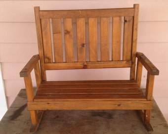 Vintage Wooden Childs Bench Rocker -  Teddy  Bears Seat - Wood Frame Country Seat - Two Seat Capacity