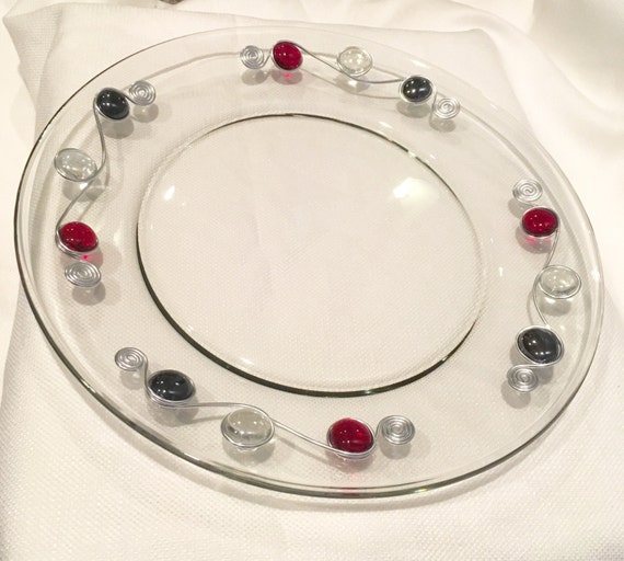 Beaded plate/platter-13 inch glass, Beaded Platter, Wire Wrapped dish, Rustic, Glass Platter, Serving Tray, Beaded Tray, Wire Wrapped