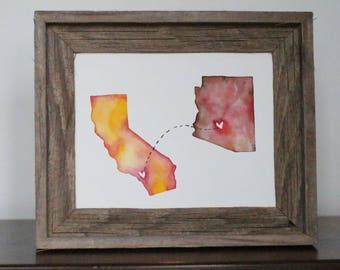 Long Distance Love Original Watercolor Painting