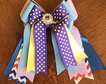 Horse Show Bows/chevron hair accessory/Easter gift/sparkle gem