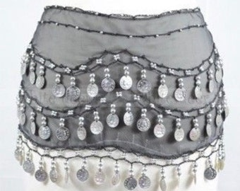 Gray Belly Dance Skirt - One Size Fits Most/Party costume /Ladies sexy skirt/halloween costume/Gray skirt/silver coins /belly dance skirt/
