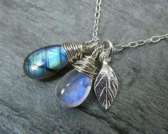 Moonstone necklace ~ Labradorite necklace ~ Moonstone and labradorite pendant necklace ~ Blue moonstone pendant ~ Labradorite pendant ~