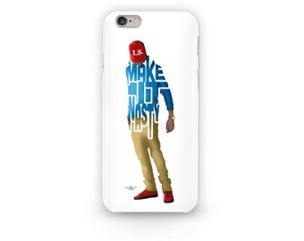"""Tyga Phone Case Typography Design with his Lyrics, """"Make it Nasty"""" iPhone Case Blue and Gold on White Design for all iPhone Models"""