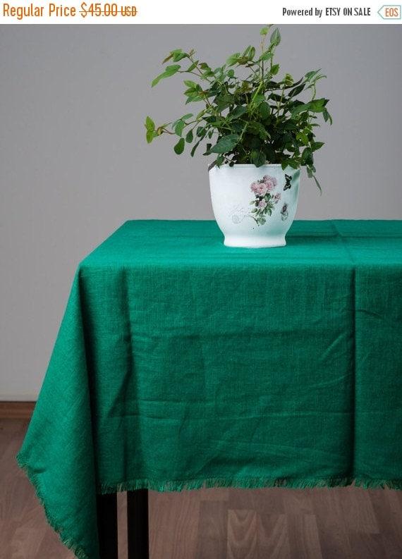 Christmas sale tablecloths emerald green linen by rplinen for Christmas table decorations sale