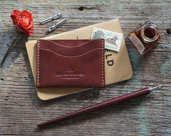 Minimalist wallet for dollars (dark red leather)