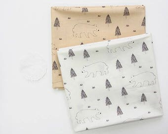 Bear and Tree Digital Printing Cotton Fabric by Yard - 2 Colors Selection