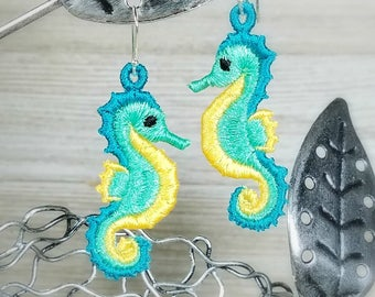 FSL Seahorse Earrings - Machine Embroidery File - Instant Download