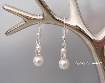 Pearl and rhinestone wedding earrings