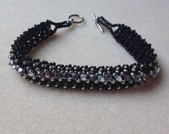 Beaded Swarovski Crystal Bracelet-Black/Silver-8 in.
