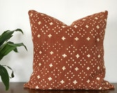 African Mudcloth Pillow Cover // Various Sizes // Rust