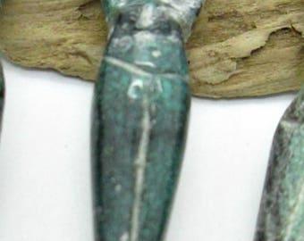 Turquoise Goddess Bead, Hand Carved Goddess, Hubei Turquoise Goddess, 42-50x7-9mm (1)