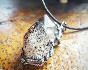 Australian Crystal, Quartz Pendant, Hematite, Organic, Earthy, Healing, Crystal Jewelry, Earthy, Magical, Wisdom, Handmade, Pagan, Esoteric.