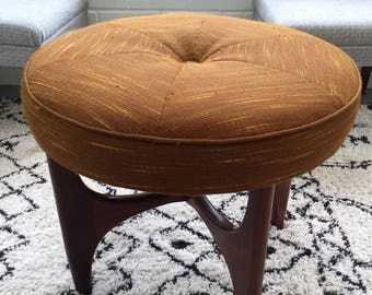 1960's vintage G Plan fresco stool. Mustard orange brown, dark teak wood