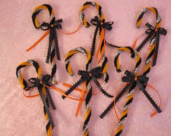 Chenille Halloween Candy Canes