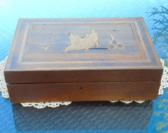 Madeira Sewing Box Inlaid Natural Wood with Lift Out Tray of 6 Inner Lidded Compartments and Pin Cushion Hinged Lid Lock no Key