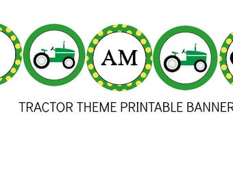 INSTANT Tractor Theme I am One Printable File Mini Accent or Highchair Birthday PDF
