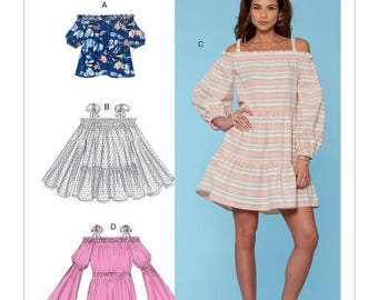 McCall's Pattern M7563 Misses' Off-the-Shoulder, Gathered Top, Tiered Tunic and Dresses