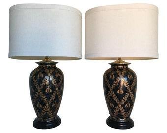 European Cloisonné-Style Bee Lamps, Pair