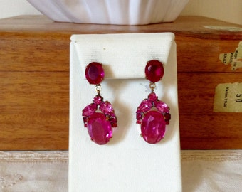 Lovely  pink and austrian glass   drop earrings