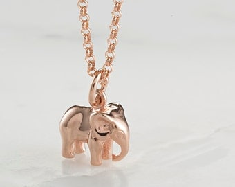 Rose Gold Plated Elephant Charm Necklace