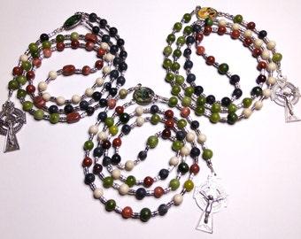 Irish Rosary beads, St Patrick, St Bridget, shamrock centers Celtic cross Connemara marble Irish marbles, Erris, Mayo, Ireland