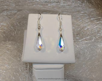Rhodium plated Swarovski crystal teardrop earrings