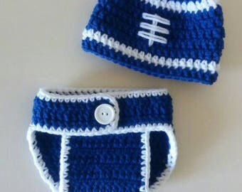 Colts Baby Set, Indianapolis Colts, Newborn Colts Set, Indianapolis Colts Photo Prop, Crochet Colts Hat, Hat and Diaper Cover Set, Baby Boy
