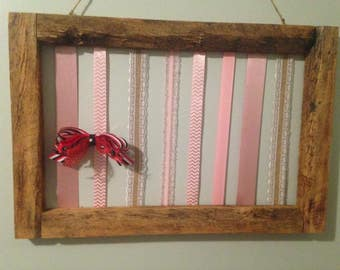 Rustic Wooden Hair Bow Holder / Accessory Holder