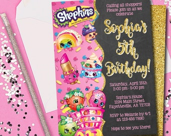 Shopkins Birthday Etsy - Blank shopkins birthday invitations