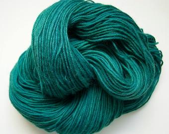Green DK Knitting Yarn | Crochet Yarn | Hand Dyed Yarn | Sock Yarn | 8-Ply Wool Yarn | Hand Painted Wool | Green Lake Colourway | 50g skein