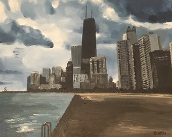 Original Acrylic Painting Chicago Skyline