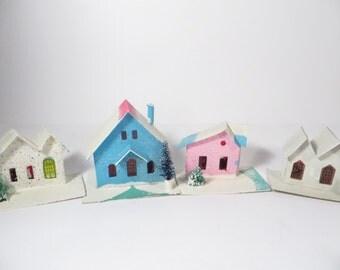 Set of 4 Vintage Putz Houses - Made in Japan Cardboard Putz Houses