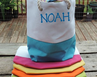 "Kids Beach Bag, Pool Bag, Swimming Bag, Tote - Personalized EMBROIDERED (Not Vinyl) - Rope Handles, Extra Roomy, 6 Colors, 15"" Diameter 9.5"""