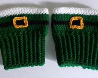 Santa Boot Cuffs - Santa Boot Toppers - Christmas Boot Cuffs - Holiday Boot Cuffs- Crochet Boot Cuffs