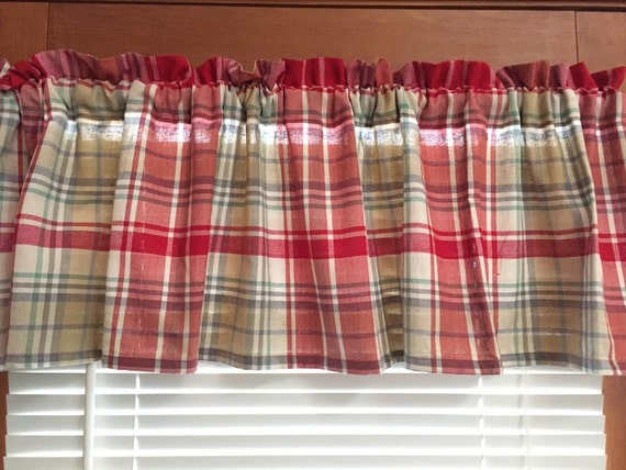 Red Plaid Kitchen Valance 60 Inches Wide