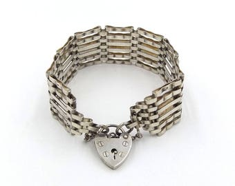 Sterling Silver Gate Bracelet With Heart Padlock   Vintage 6 Bar Victorian Style Gate Bracelet   Hallmarked 1978