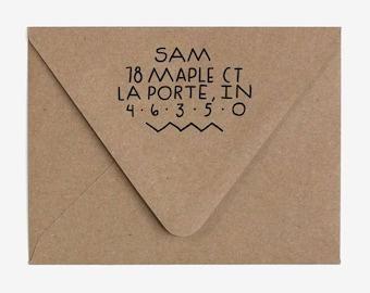 Minimal Edgy - Custom Hand Lettered Return Address Stamp