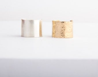 Cuff Ring, Tube Ring, Smooth, Hammered Cuff Ring, Gold Fill, Sterling Silver