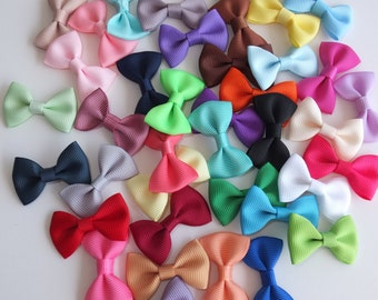 Mini bows WITHOUT clips 20-40 pcs 1.5 inch Grosgrain bow DIY for Headwear Hair bow Hair clips Supply Garment Sewing Accessories