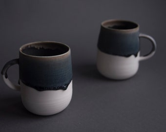 Tea / coffee cup, handmade wheel thrown porcelain, minimal nordic blue miracle pottery ceramics, 400ml
