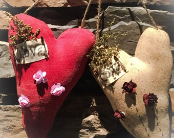 Made to order handmade primitive Valentine heart hangers