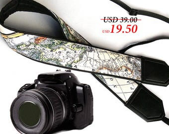 World Map Camera Strap. Europe. Asia. America. DSLR / SLR Camera Strap. Camera accessories. Photographer gift by InTePro