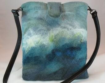 wet felted, wool purse